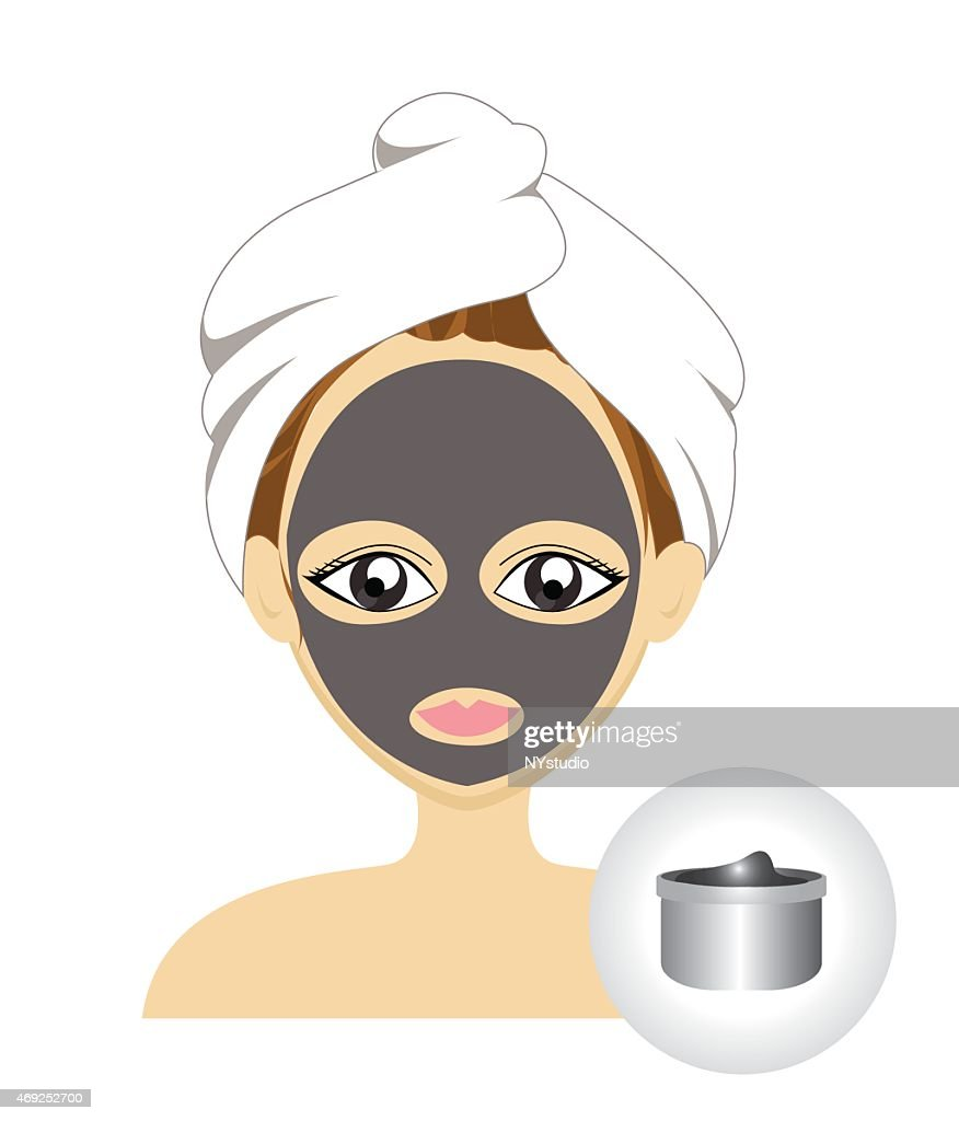 Vector of girl facial mask with mud mask