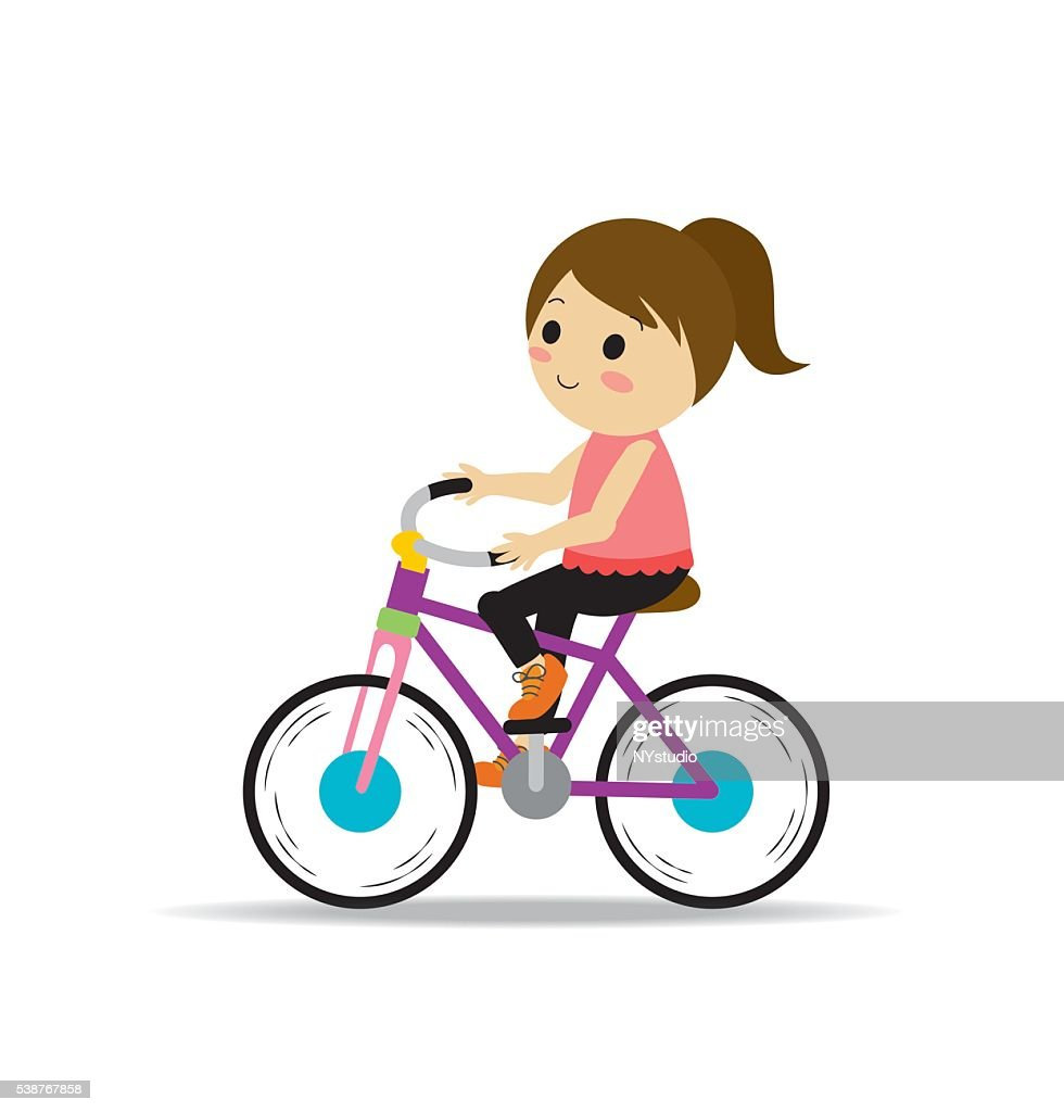 Vector of Girl riding bike for exercise