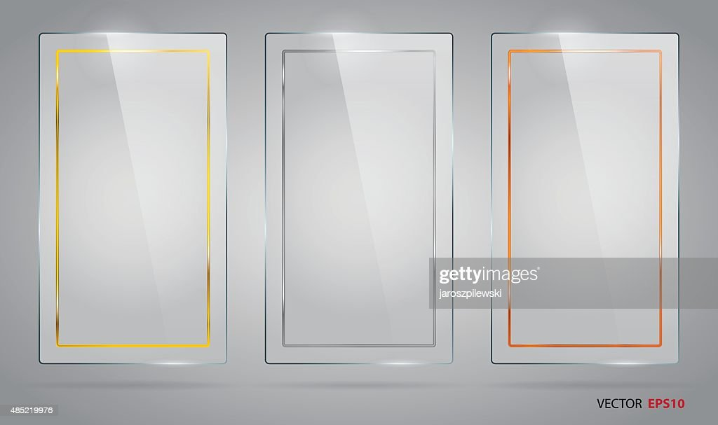 Vector of glass banners with gold, silver and bronze frames