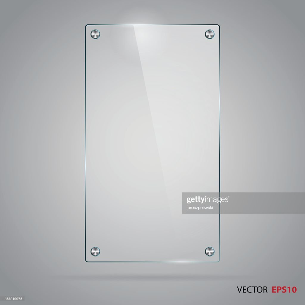 Vector of glass frame with steel rivets.