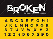 Vector of Glitch Modern Alphabet Letters and numbers, Grunge linear stylized rounded fonts