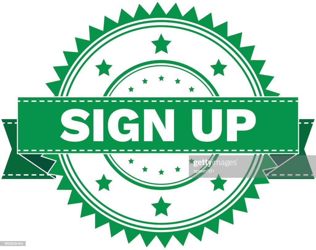 Vector  of GREEN STAMP SIGN SIGN UP. Stamp.  Sticker.Sign. EPS8 .