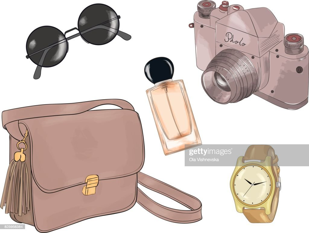 Vector of hand drawn fashion illustration, isolated on white background. A set of summer accessories: handbag, glasses, camera, watch and perfume.