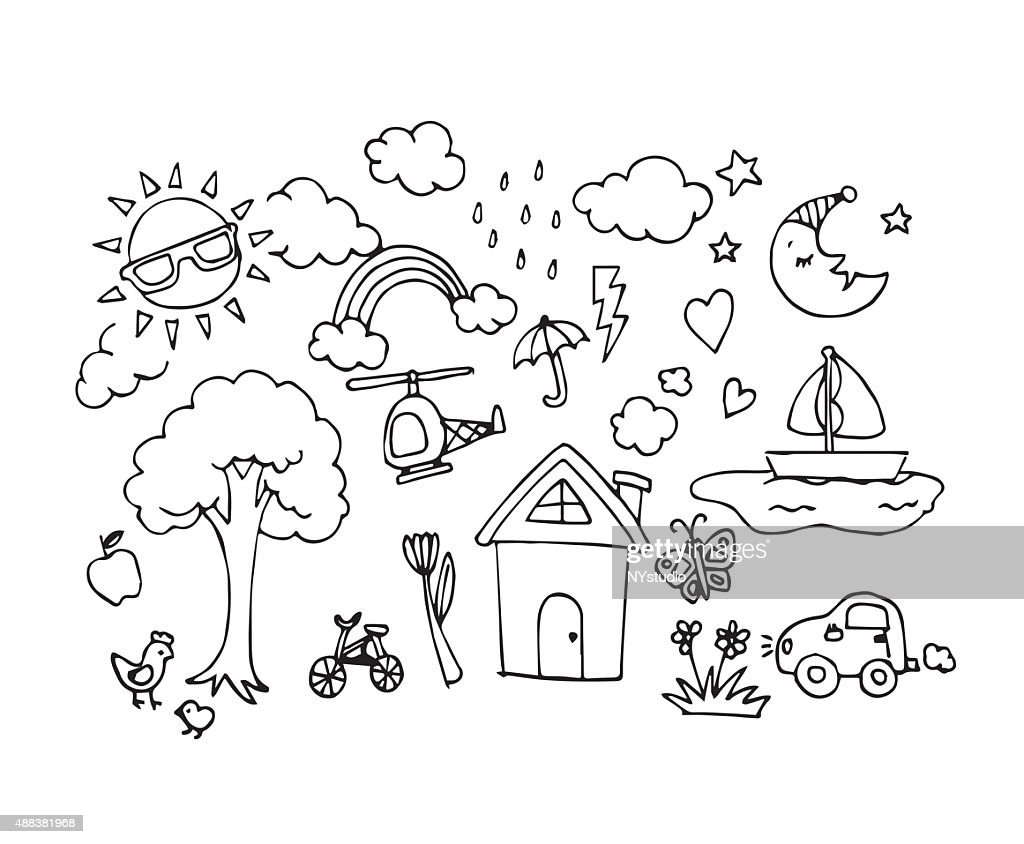 Vector of Hand drawn sketch doodles in baby draw concept