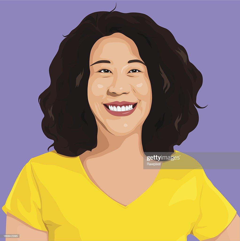 Vector of Happy Lady Portrait