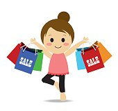 Vector of happy young woman with shopping bag