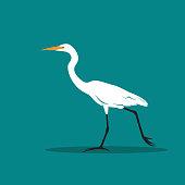 Vector of Heron or egret design (Ciconiiformes, Ardeidae) on blue background. Bird, Animals.