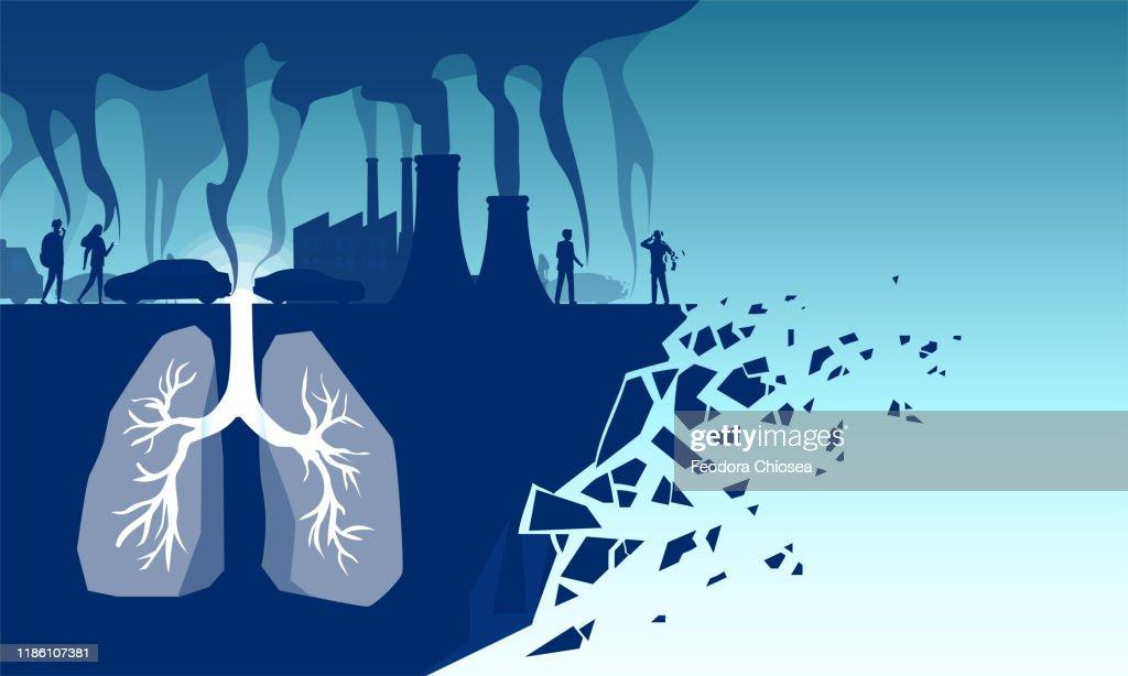 Vektor der menschlichen Lunge, die giftige Schadstoffe, Industriegifte, Zigarettenrauch und Autoemissionen einatmet : Stock-Illustration