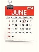 Vector of June 2014 Calendar