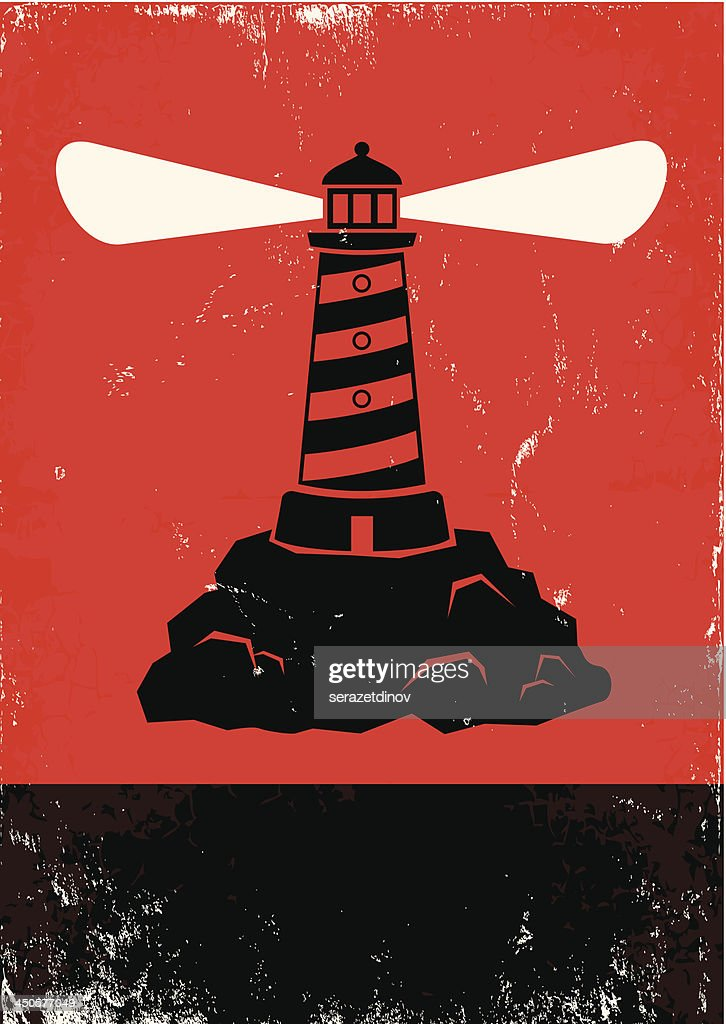 Vector of lighthouse spreading beam against red background