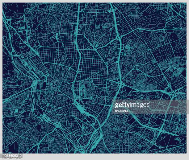illustrazioni stock, clip art, cartoni animati e icone di tendenza di vector of madrid map pattern background - madrid