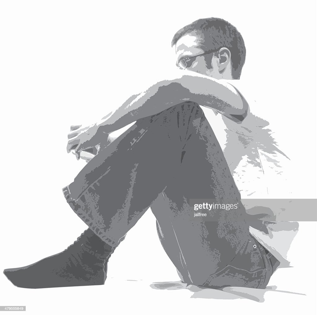 Vector of man sitting on white background