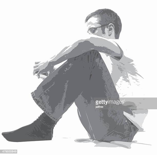 vector of man sitting on white background - suicide stock illustrations