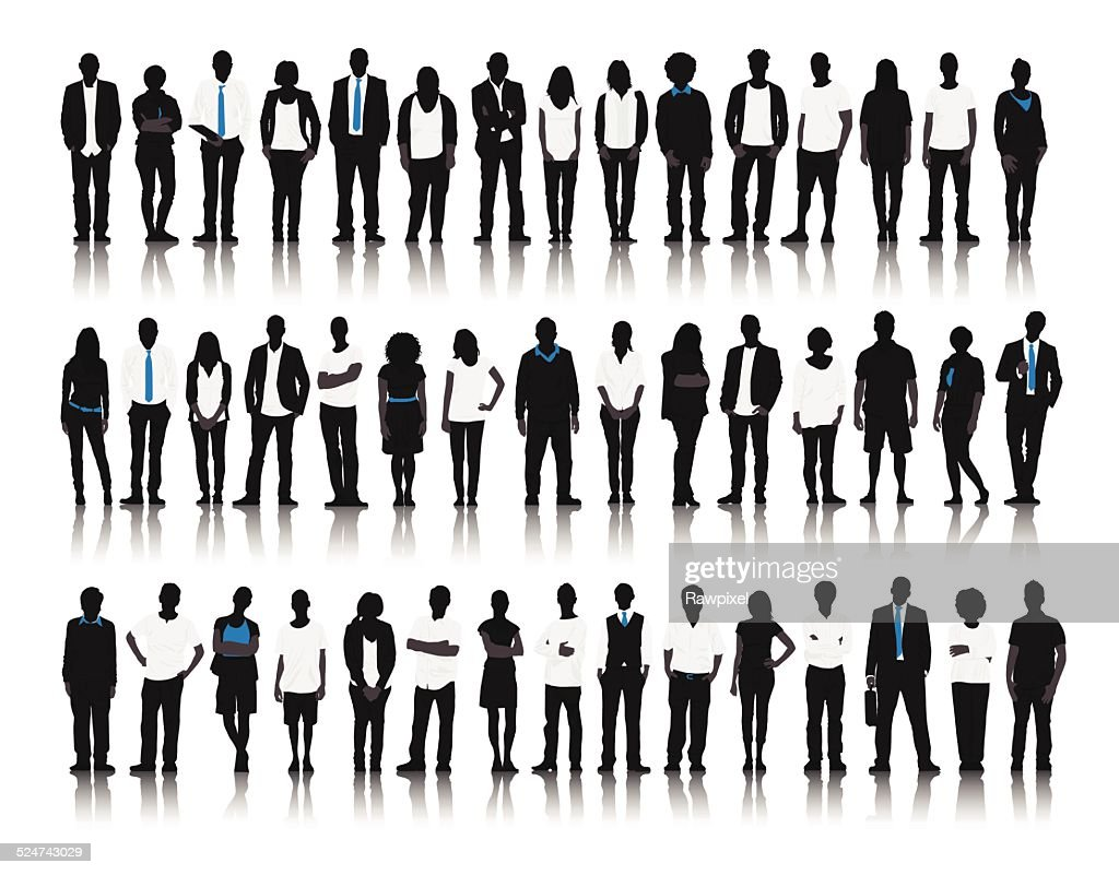 Vector of Mixed Age People on White Background