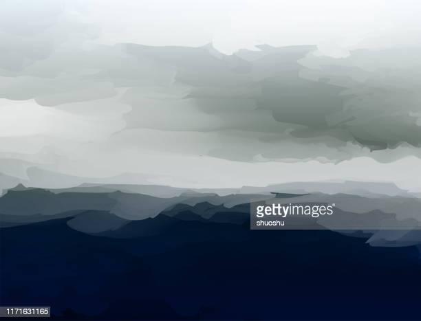 vektor des bergwolken-landschaftsmusterhintergrunds - bedeckter himmel stock-grafiken, -clipart, -cartoons und -symbole