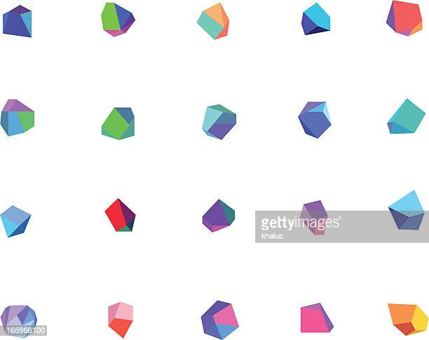 Vector of multi-colored crystals