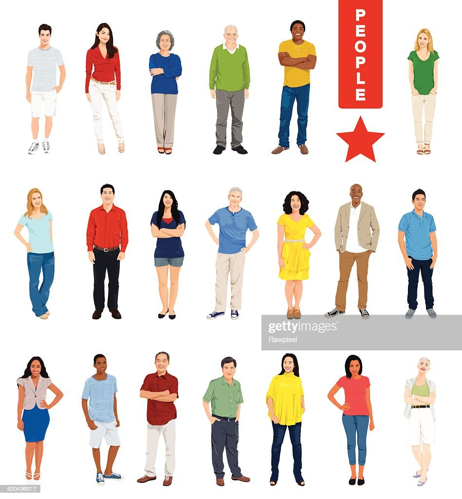 Vector of Multiethnic People on White Background