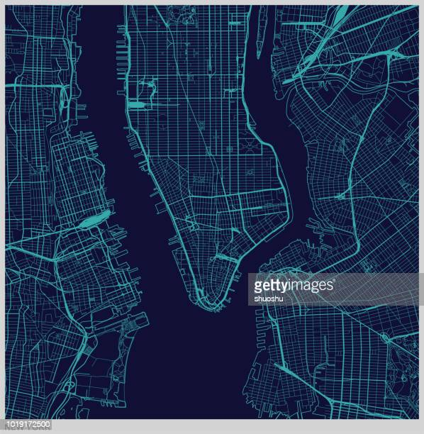 vector of new york city map illustration - cartography stock illustrations