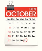 Vector of October 2013 Calendar
