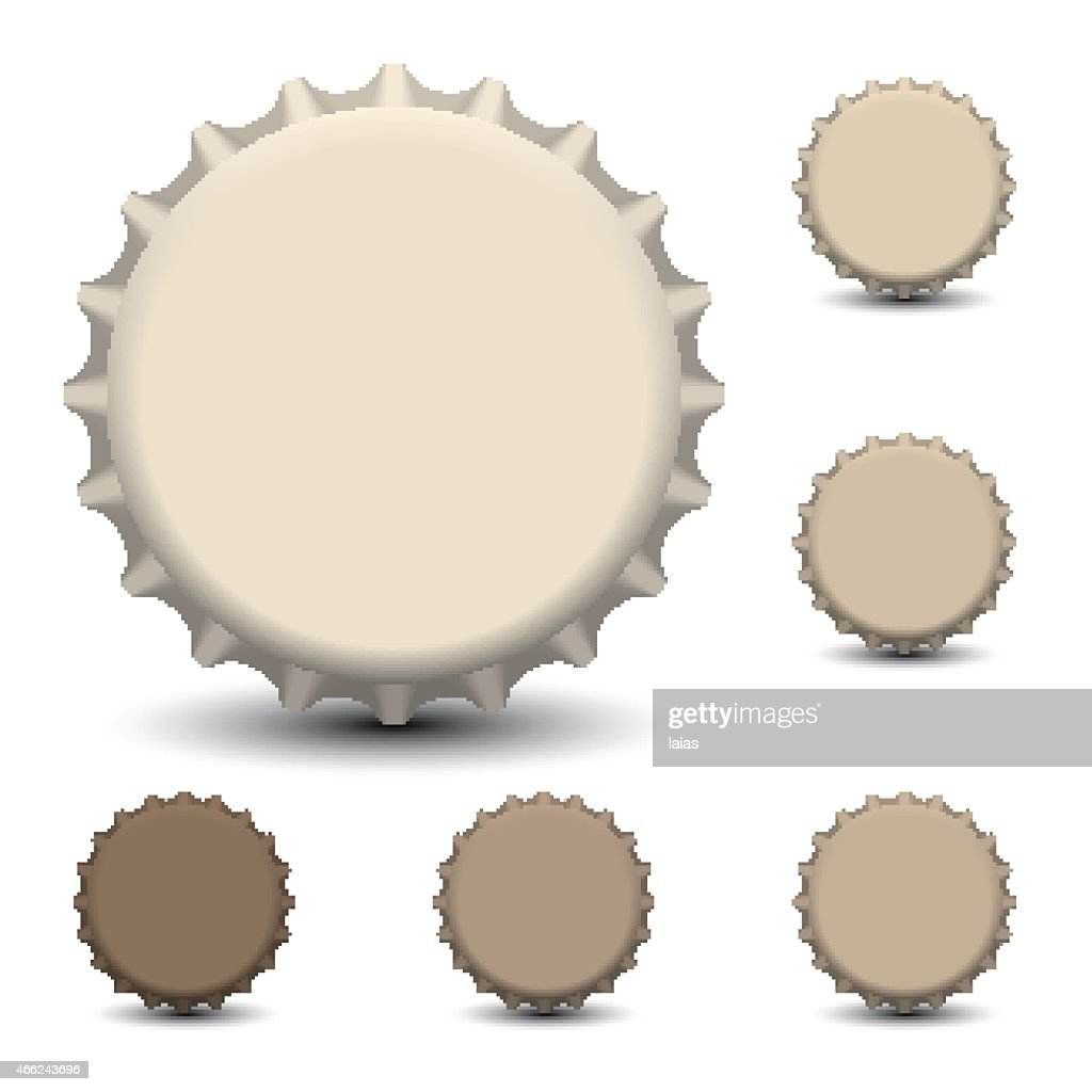 Vector of one large bottle cap and five small ones