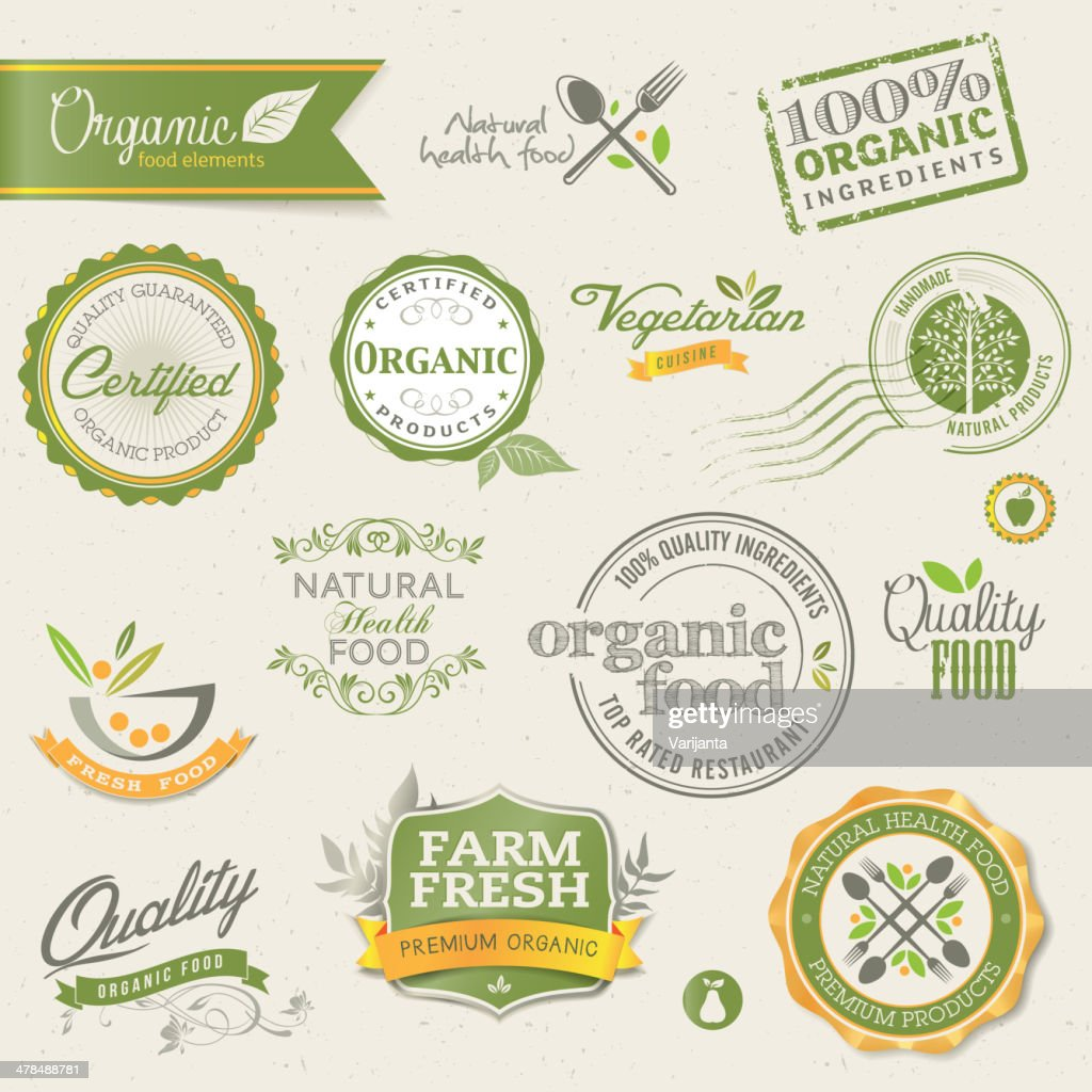 Vector of organic food labels and elements