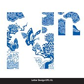Vector of Oriental style alphabet tape N. Traditional Chinese