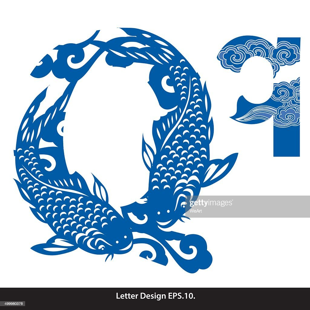 Vector of Oriental style alphabet tape Q. Traditional Chinese