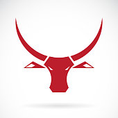 Vector of red bull head design on white background., Wild Animals. Easy editable layered vector illustration.