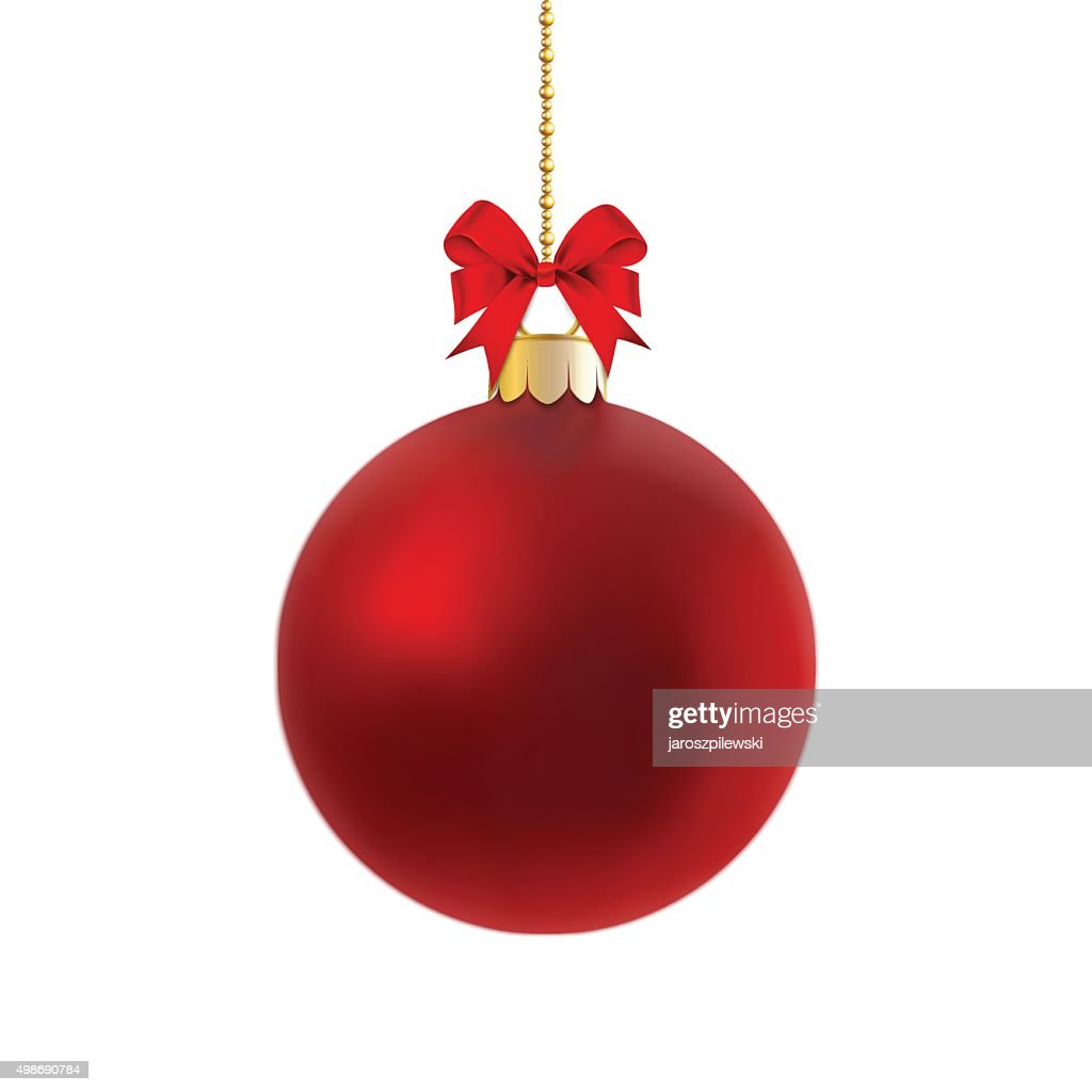 Vector of red satin bauble on gold chain.