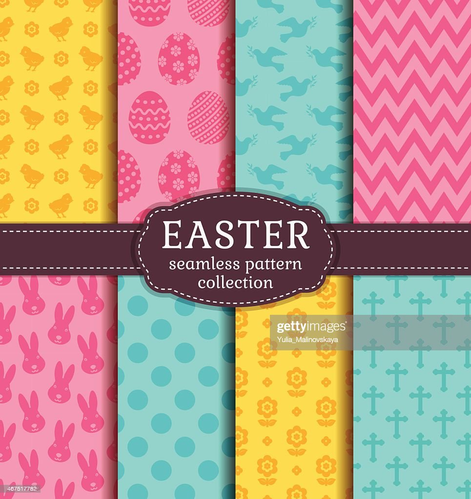 Vector of seamless Easter patterns