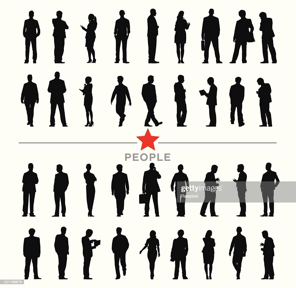 Vector of Silhouette Business People with Different Activities