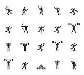 Vector of square headed man sports set icon, football, basketball, tennis, baseball, skating, athletic, gym, gymnasium, body building, exercise, training, workout, sign, symbol pictogram icons set illustration