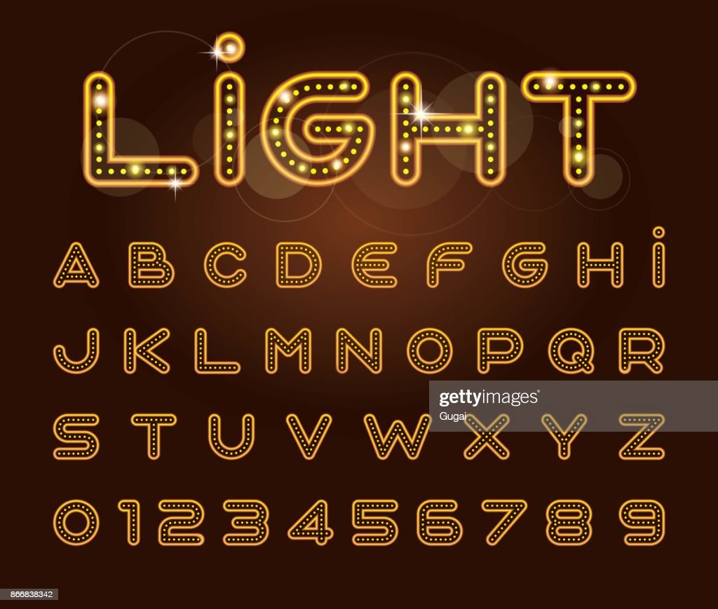 vector of stylized light font and alphabet neon letters vector art