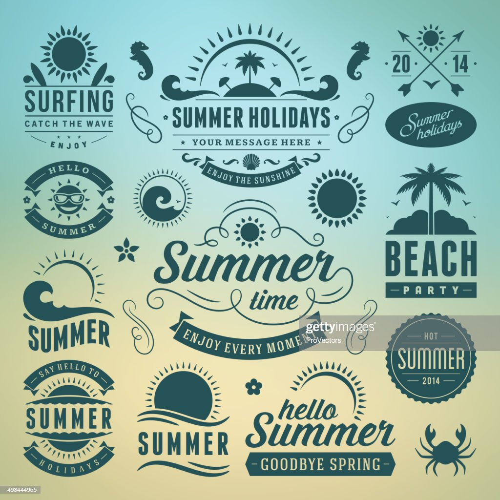 Vector of summer holiday icons