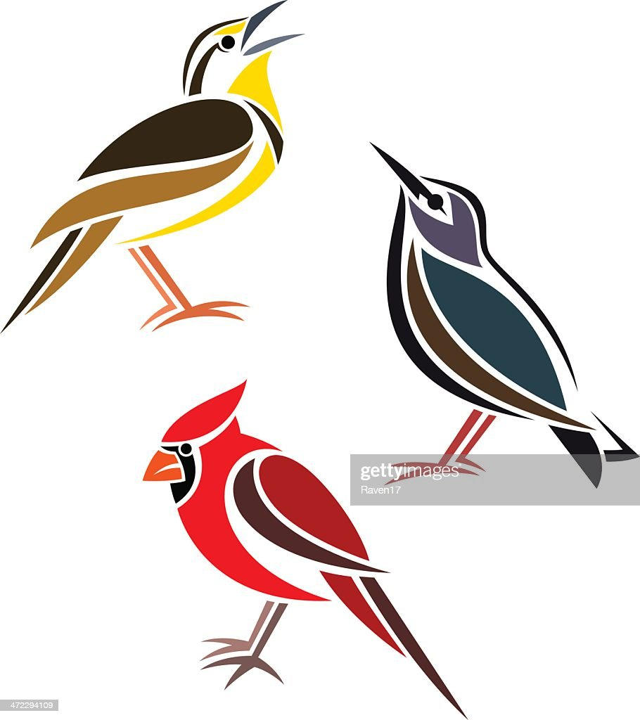 Vector of three birds, one yellow, one red and one blue