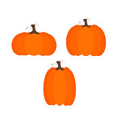 Vector of three simple pumpkins of different sizes for halloween.