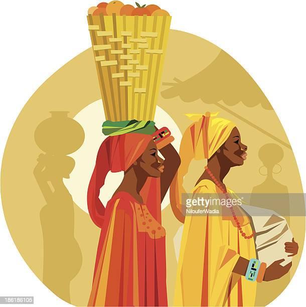 illustrations, cliparts, dessins animés et icônes de illustration de deux femmes africaines porter des fruits sur leur tête. - femme africaine