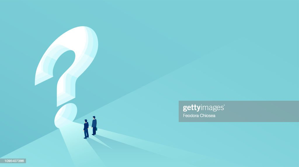Vector of two businessmen standing in front of a keyhole shaped as a question mark : stock illustration