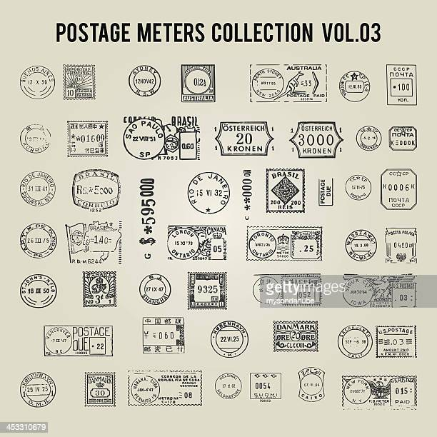 Vector of vintage postage meters from different countries