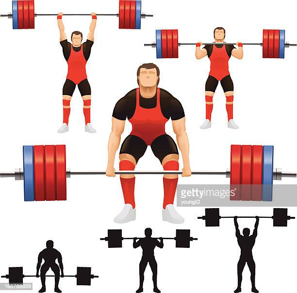vector of weight lifters with weights - weight training stock illustrations