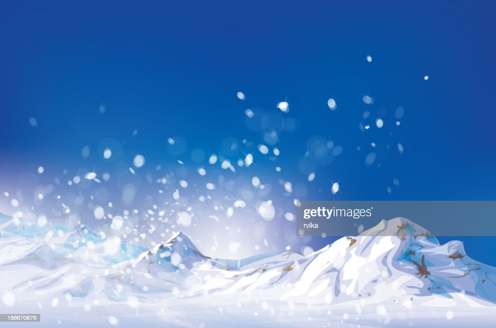 Vector of winter scene, white snow, mountains and blue sky.