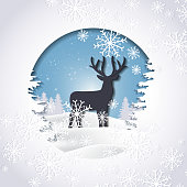 Vector of winter season and Christmas day. Deer in forest with snow. Illustration paper art style