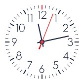 Vector office clock on white background