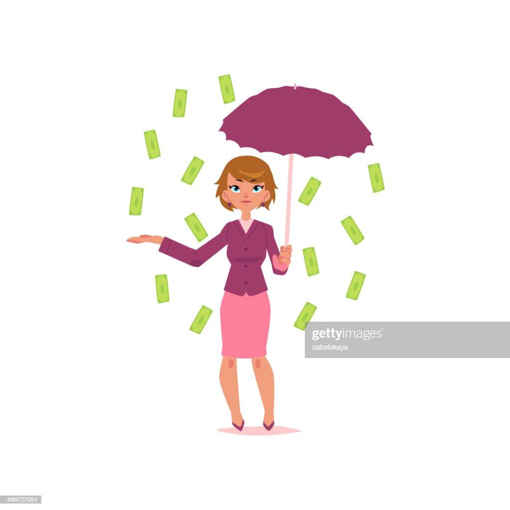 vector office girl with umbrella under dollar rain