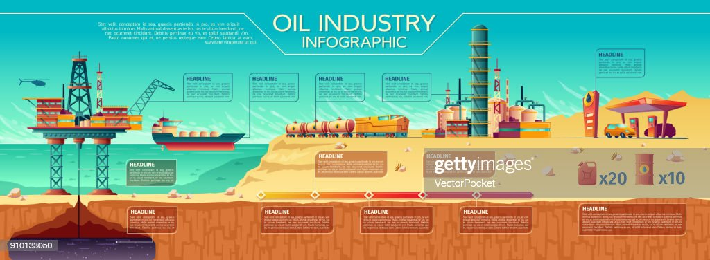 Vector oil industry infographics Offshore platform