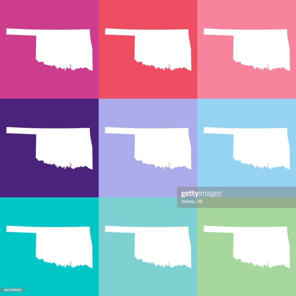 Vector Oklahoma Usa Map In Cool Colors Vector Art Getty Images
