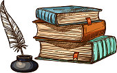 Vector old books and ink feather quill pen
