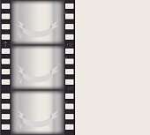 vector old film black and white footage of a waving ribbon. isolated on gray background