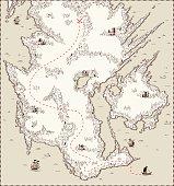 Vector old map, pirate treasure