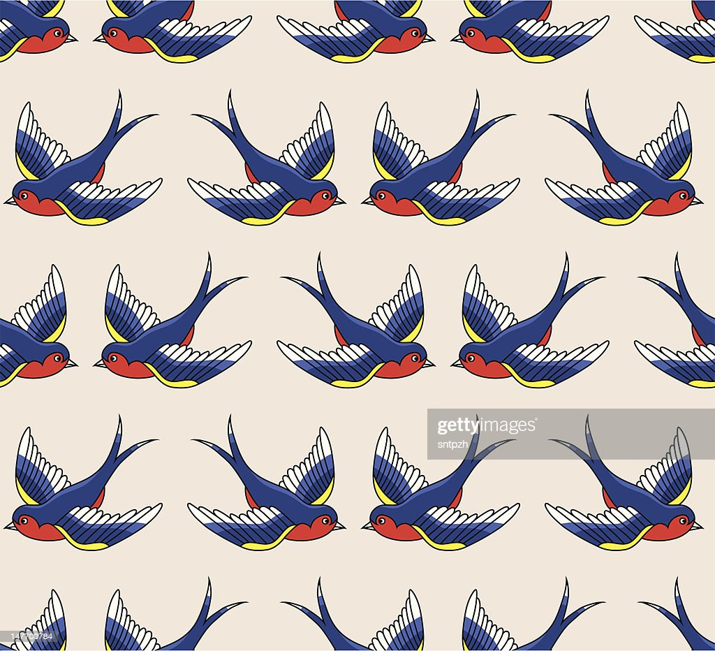 old school pattern with birds